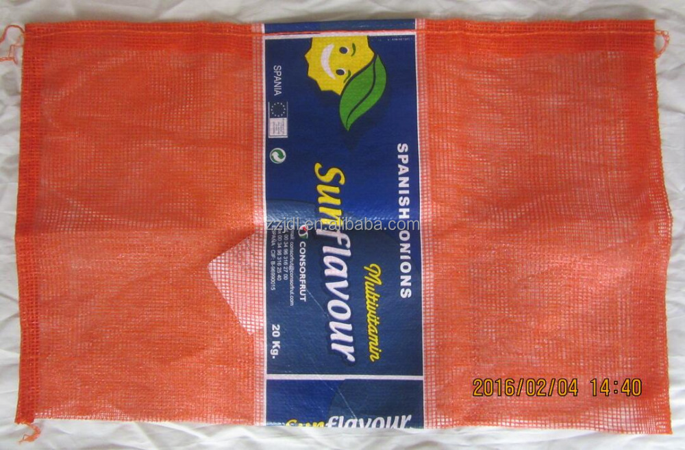 hold capacity 50lbs onions L-sewn type open weaving mesh bag,50 lbs onion mesh bag