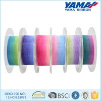 Wholesale high quality colorful rainbow sheer organza ribbon