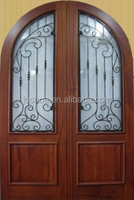 arch top mahogany wood double wrought-iron entry door