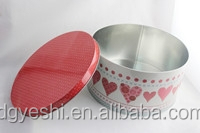 Decorative olive oil tin can, round tin box