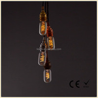 Dimmable 4W T45 Flexible spiral vintage style LED filament bulb 2200K