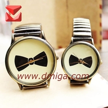 elastic steel strap big bowknot image couple watch with 3 ATM water resistant