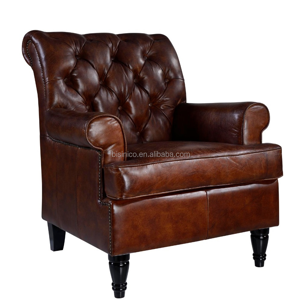 Tufted Leather Sofa And Chair: French Style Brown Genuine Leather Tufted Leather Sofa