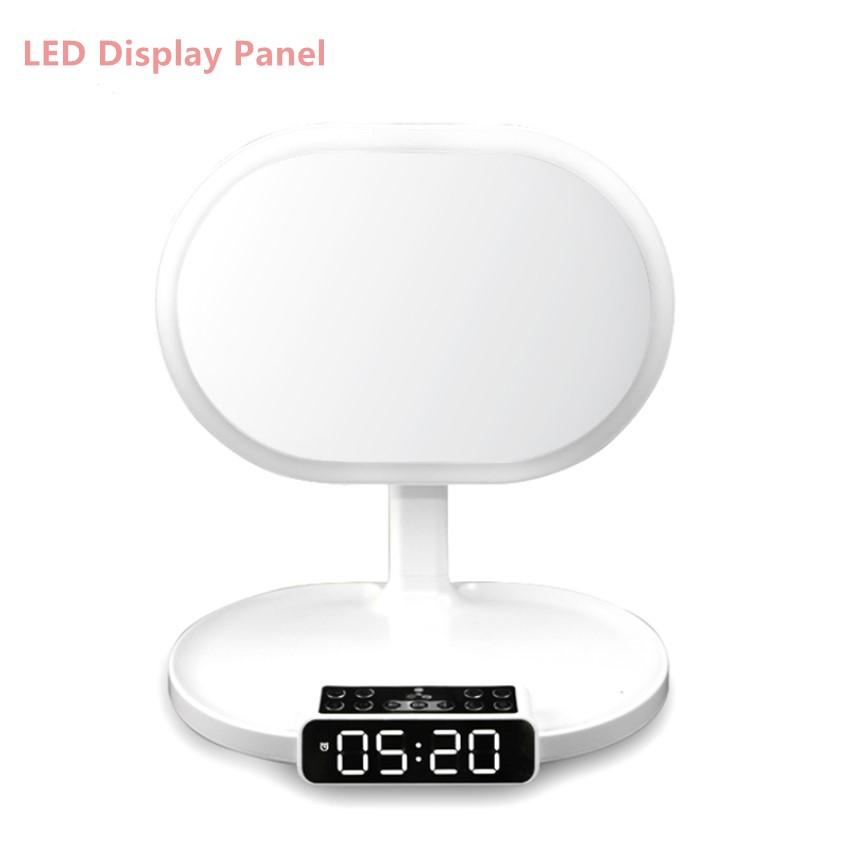 Creative Birthday Gift Speaker Player Alarm Clock LED Table Lamp Light Makeup Mirror