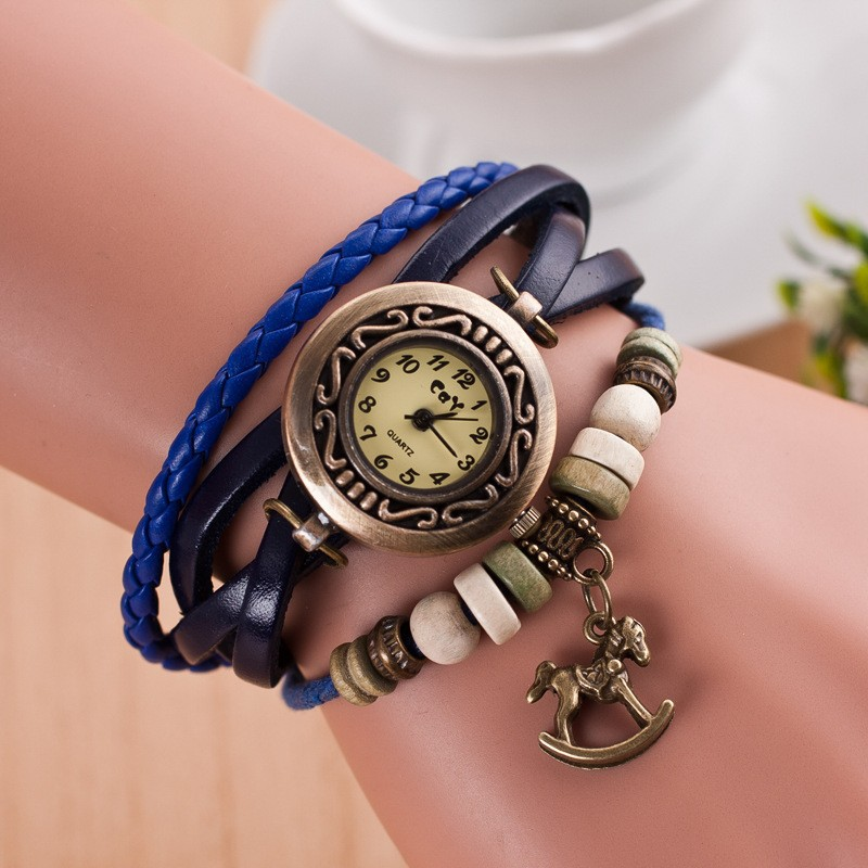 2015 Fashion Leather Women Dress Bracelet Watch Vintage Wrist Watch10 Colors Wooden Horse Pendant Lady Watches