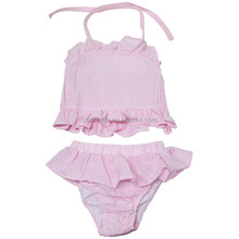 Wholesale Summer Baby Girl Gingham Monogrammed Bathing Suit