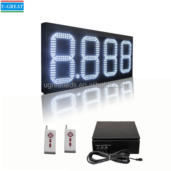 8.888 White Color Station LED Gas Price Sign Board