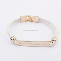 Women Accessories Gold Jewelry Rectangular Lettering Metal Button Cord Bracelet