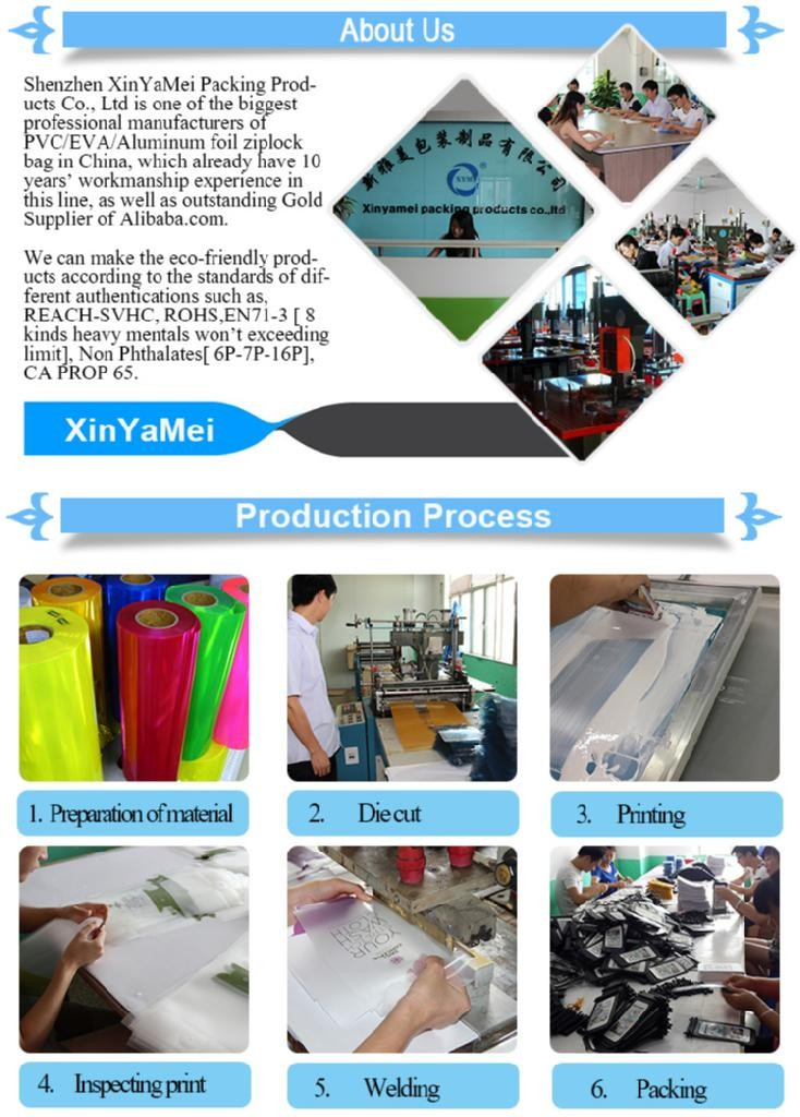 BSCI audit factory OEM&ODM pvc bag/pvc clear plastic handle bags/clear vinyl pvc zipper bags with handles