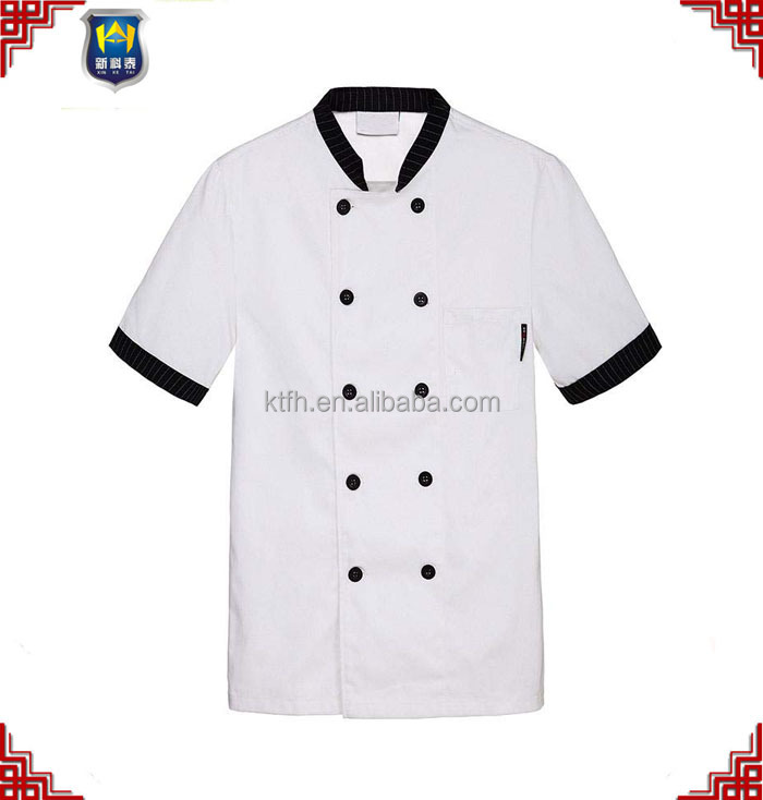 2017 summer custom pure white design chef coat blouse uniform