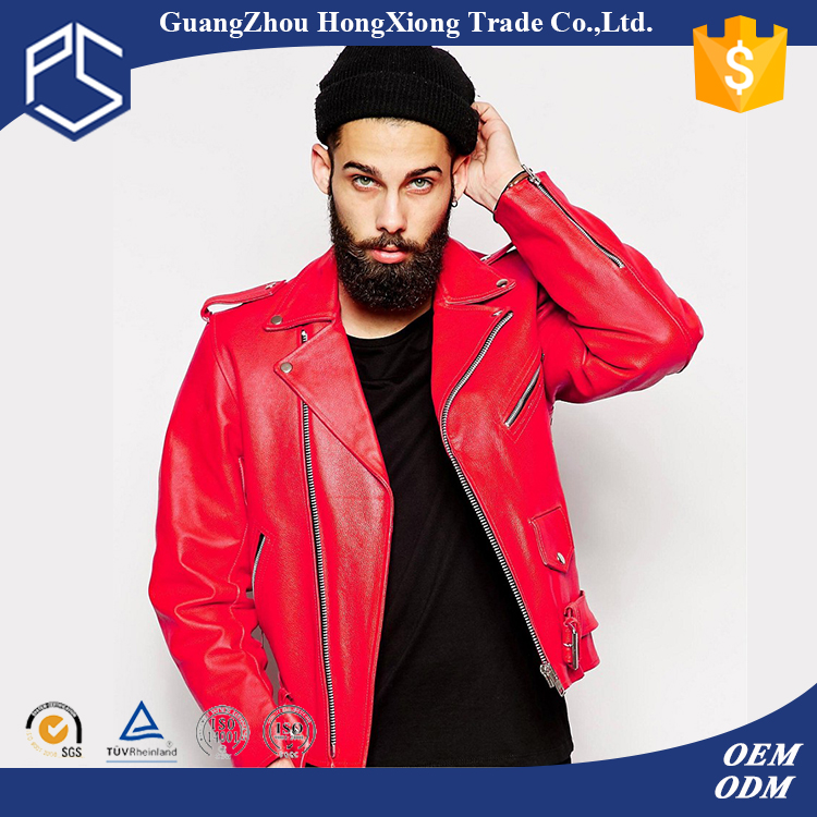 Factory Plain Custom High Qualtiy Fashion Red Pakistan Leather Jackets For Men