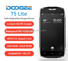 Doogee T5 Lite 4G Mobile Phone 5 Inch MTK6735 Quad Core Android 6.0 2GB RAM 16GB ROM 8.0MP 4500mAh OTG Waterproof Smartphone