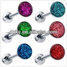Sparkling Round Enamel Ferido Gem Tongue Ring Piercing Barbell