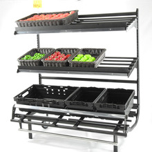 Hot selling fruit and vegetable use 3 layers display metal <strong>shelf</strong> rack iron <strong>shelf</strong> with rolls