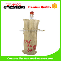 Cheap word decoration custom wine jute bag for wine gift promotion