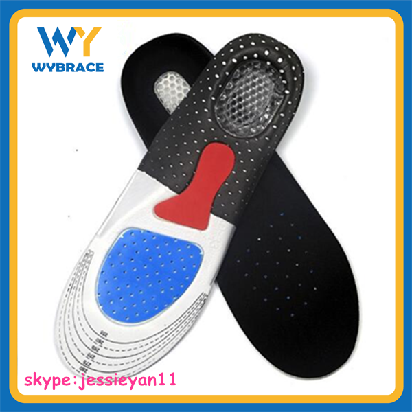 Wuyu Premium Quality Full Length Orthotic Foot Massage Gel Work Shoe Insoles