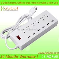 UL Approved Solar Powered Power Strip USA 6 Outlets Surge Protector with 6 USB Ports for Apple iPhone 6s 6 plus 5s 5c 4s