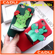 3D Cute Cactus Plant Matte Hard PC Stand Holder Phone Case for Iphone 5 6 6 plus