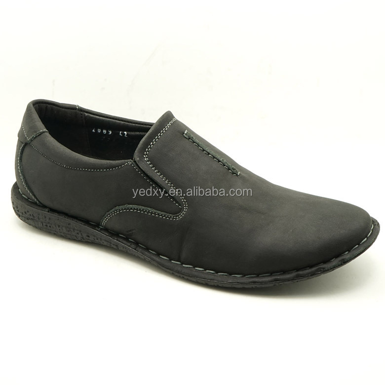 high quality assurance mens black genuine leather casual shoes