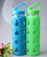 700ml 24OZ sport travel colored borosilicate glass cups with straw BPA free outdoor reusable soft glass water drinking bottle
