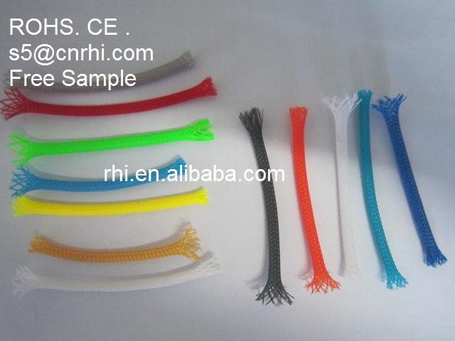 wholesales CE. ROHS .UL Polyester(PET) Braided Expandable Cable Mesh Tube Sleeve , Plastic cable sleeve, flexible Briad sleeve