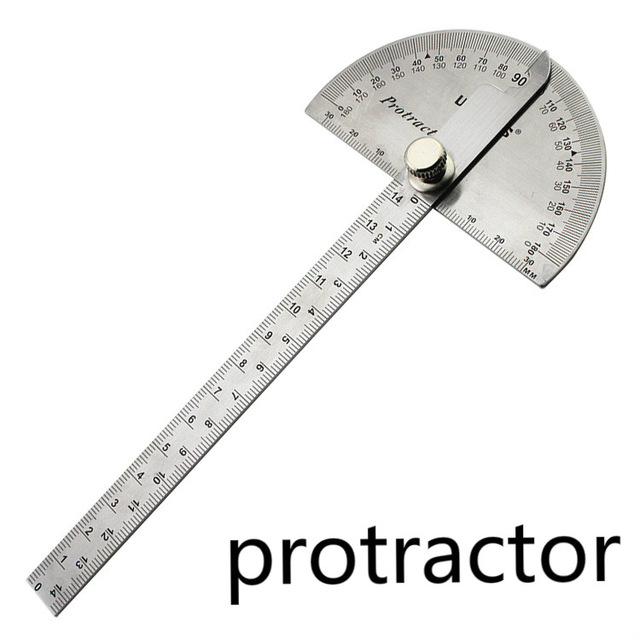 Stainless Steel Ruler Angle Protractor Woodworking Multi Function Stainless Steel Round Head Protractor Angle Ruler Mathematics