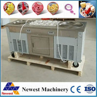 New design cold pan ice cream machine with 2 big pan and 10 small topping pans/good quality fried ice cream pan machine