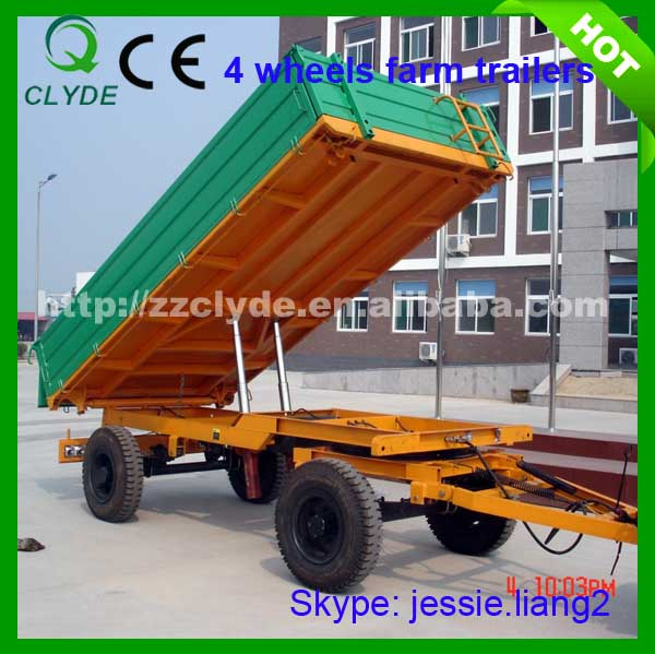 7 T capacity load agriculture trailer with double axle