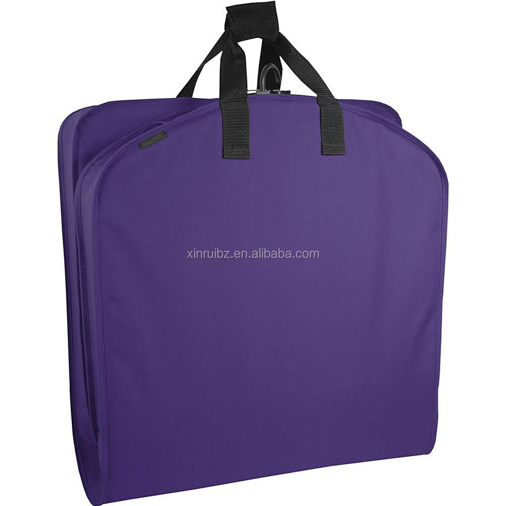 New design polyester factory supply directly purple color foldable suit cover garment bag