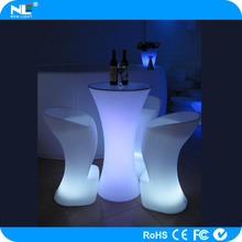 Interactive LED night club table/ illuminated plastic led bar table with metal stand/LED table