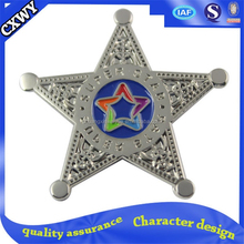Custom 5-point stars lapel pin and shields badge pin