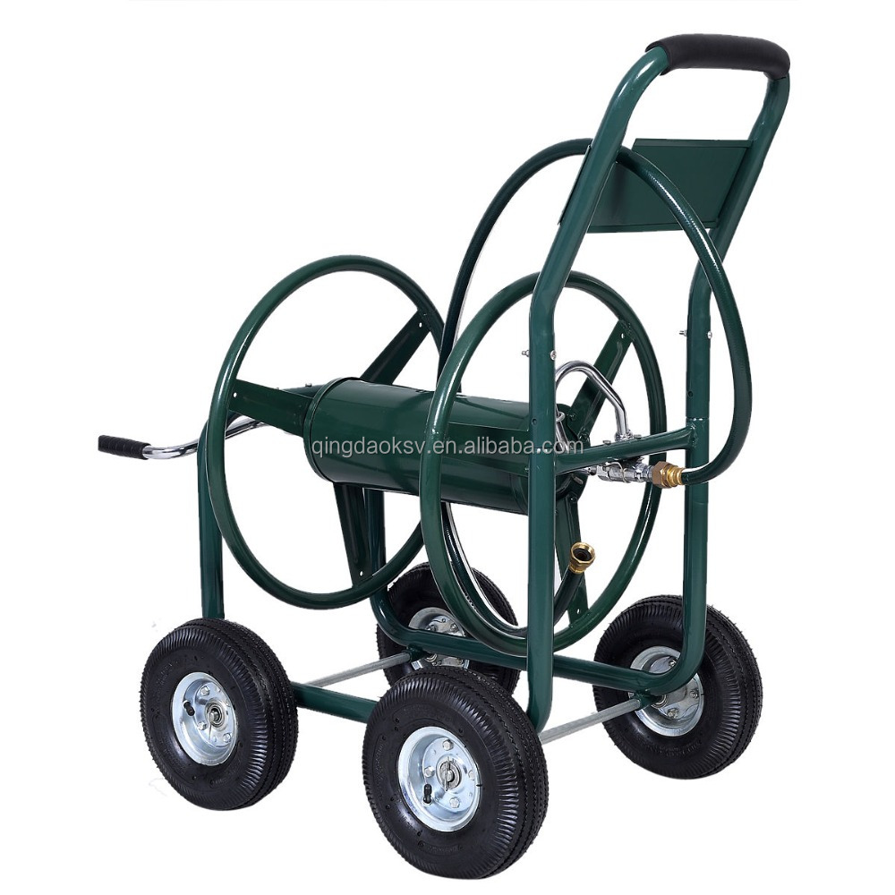 garden cart four wheel metal hose reel cart 80m