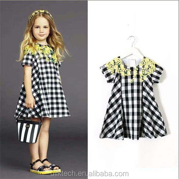 high quality plaid dress for 2-8 years girls european style nice dress for girls