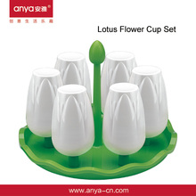 D488 Lotus Flowers Plastic Coffee & Tea Cup Set Plastic Drinking Cups 260ml 6 In 1 Water Cups Holder