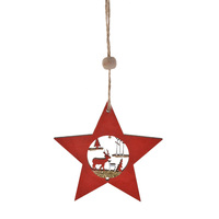 Christmas Tree Hanging Wooden Star Hanging