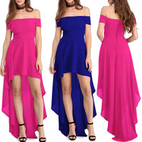 Summer Dresses Women Sexy Off Shoulder Short Sleeves High Low Floor length Maxi Party Dresses Short Front Long Back Prom Dress