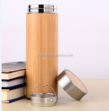 Double wall stainless steel bamboo tea thermo bottle with tea infuser