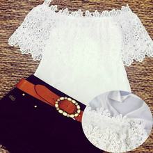 Fashion Ladies White Blouse Crochet Chiffon Polo Women Casual Tshirt