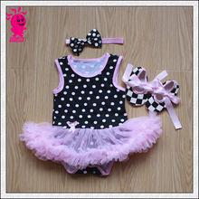 Baby clothing set baby girl romper headband tutu skirt 3pcs sports suits newborn kids outfits Polka-dot Princess Tutu Dress