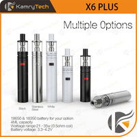Amazing decorative pattern e cig 18650/18350 mech mod kamry x6 plus e cig kit with best vapor tank