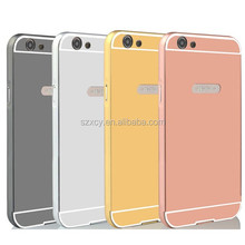Aluminum metal bumper mirror back cover mobile phone case for oppo a59