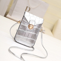 Luxury first layer leather cell phone bag , shoulder strap leather mobile phone bag
