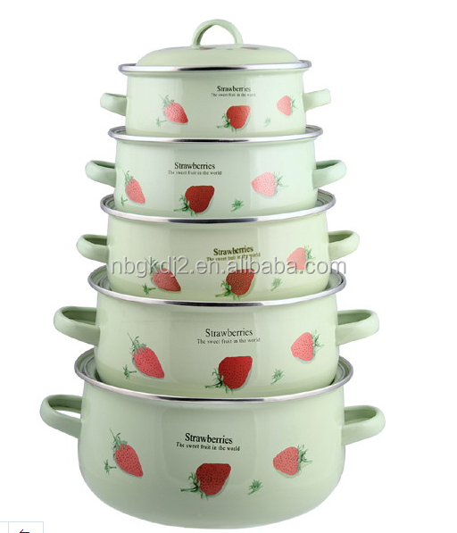 printing decal safty ceramic enameled pot casserole with metal lid