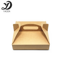 White and brown color Pizza box container retail packaging kraft paper handle boxes for takeout pizza