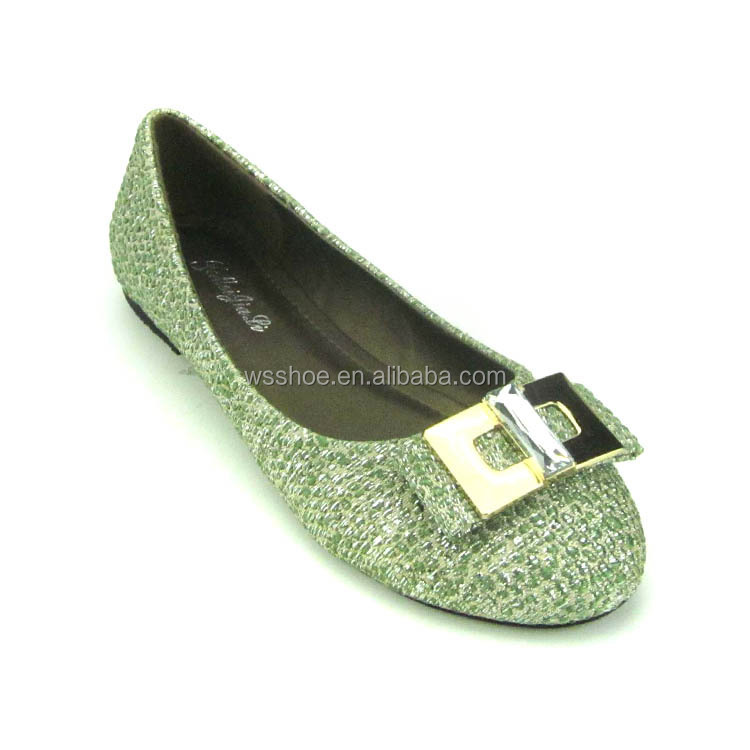 attriactive cheap soft casual rhinestone ladies grass green pretty girl dress pumps shoes