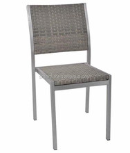 outdoor patio aluminum brushed wicker armless stacking chair