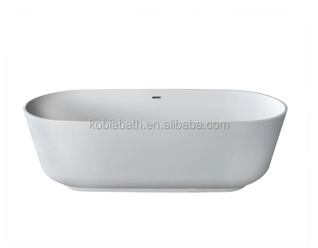 K-C02 China Wholesale Customized Artificial Stone Freestanding Soaker Bathtub with Center Drain, Oval corner bathtub
