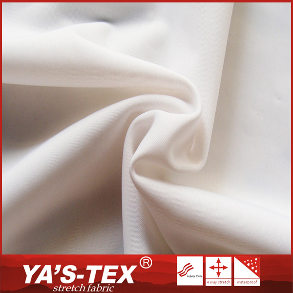 High elastic white silk touch polyester knitting fabric for clothing