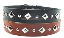 Plain genuine leather black and brown dog collar with rivets,leather western pet collars