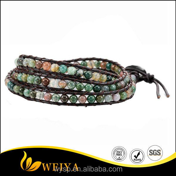 Hot Sales Adjuastable Colorful Alloy Genuine 3 Wrap Leather Bracelet Wedding Bangle with Cuff Rope and India Agate Bead